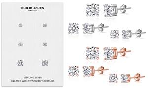 Set de 3 ou 6 boucles d'oreilles argent sterling cristaux Swarovski®