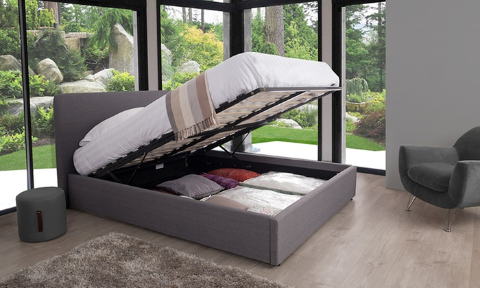 lit coffre henkel en tissu groupon shopping. Black Bedroom Furniture Sets. Home Design Ideas