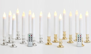 Flameless Taper Window Candle Set (8-Pack) with Holders & Remote