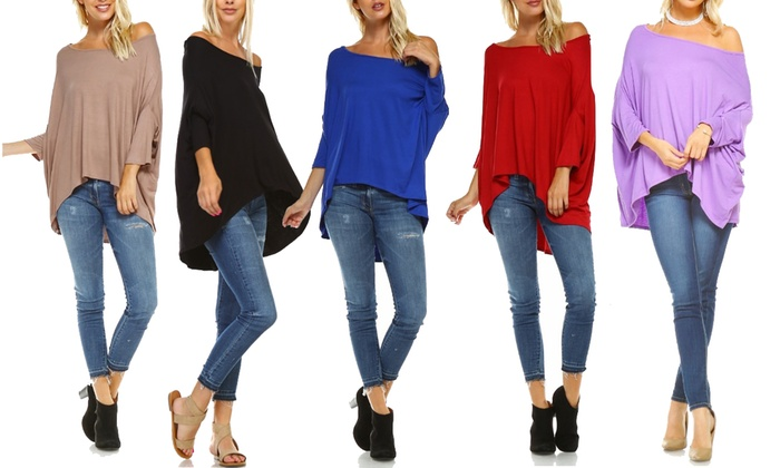 4f2ac14566d Isaac Liev Women's Oversized Off Shoulder Top. Plus Sizes Available.