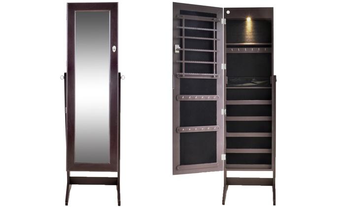 armoire bijoux sur pied avec miroir groupon shopping. Black Bedroom Furniture Sets. Home Design Ideas