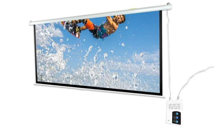 Motorized projector screen with remote control groupon for Motorized retractable projector screen
