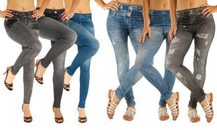 Three or Six Pack of Slimming Effect Jeggings in Choice of Design