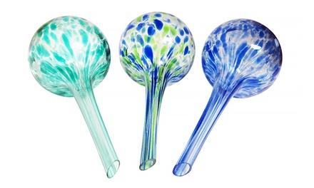 Evelots Mini Aqua Glass Plant-Watering Globes (3-Pack)
