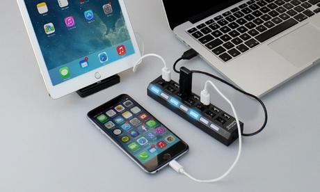 USB Hub con 7 puertos individuales Oferta en Groupon