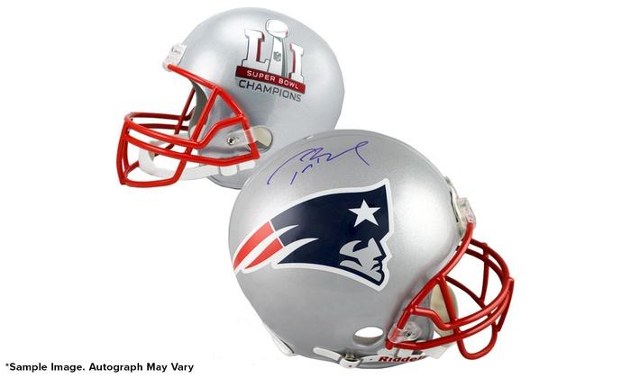 Autographed Tom Brady Super Bowl LI Helmet, Football, or 16