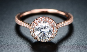 Cubic Zirconia Bridal Ring in 18K Rose Gold Plating by Barzel