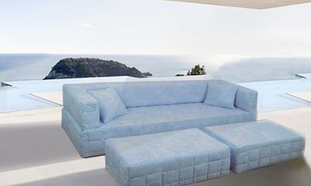 Sofá cama Danza de tela jacqard y estructura de espuma de alta densidad
