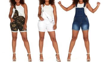 CG Jeans Women's Denim Short Overalls. Plus Sizes Available.