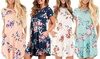 Leo Rosi Women's Sonia Floral Print Dress with Pockets with Plus