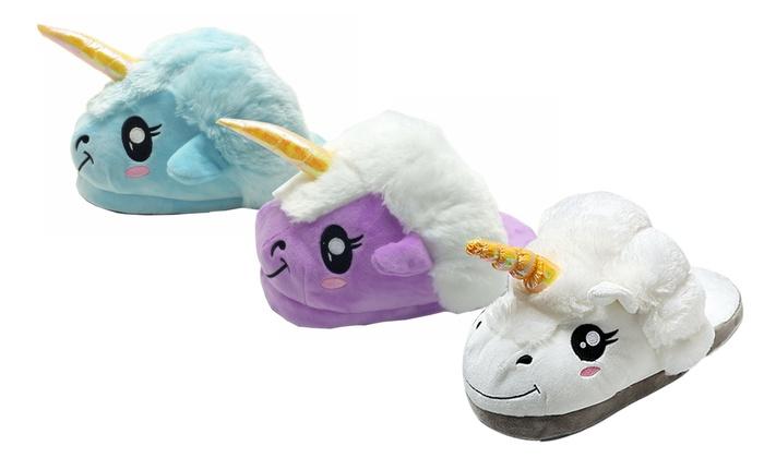 Groupon Goods Global GmbH: Pantofole a forma di unicorno disponibili in 3 colori