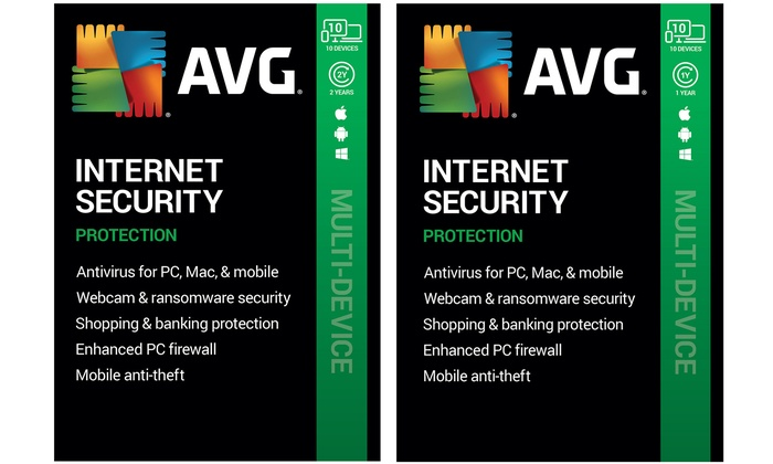 One or Two Years of AVG Internet Security 2020 for 10 Devices