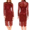 Women's Mock-Neck Lace-Overlay Cocktail Dress (Size M)