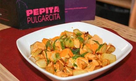 Menú para 2 o 4 personas con 2 entrantes, principal, postre y bebida en Pepita Pulgarcita