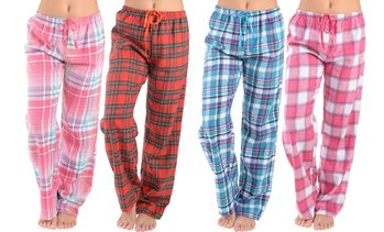 Active Club Women's Super Soft Flannel Plaid Pajama Pants (2-Pack)