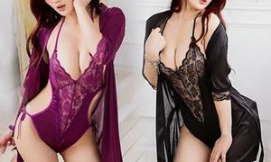 Body en dentelle + kimono satin