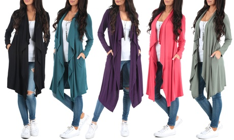 Women's Knee-Length Draped Cardigan. Plus Sizes Available.