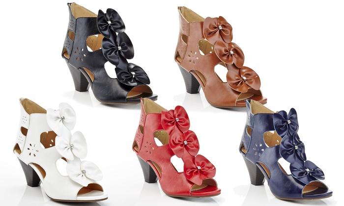 Women's Triple-Bow Heeled Sandals