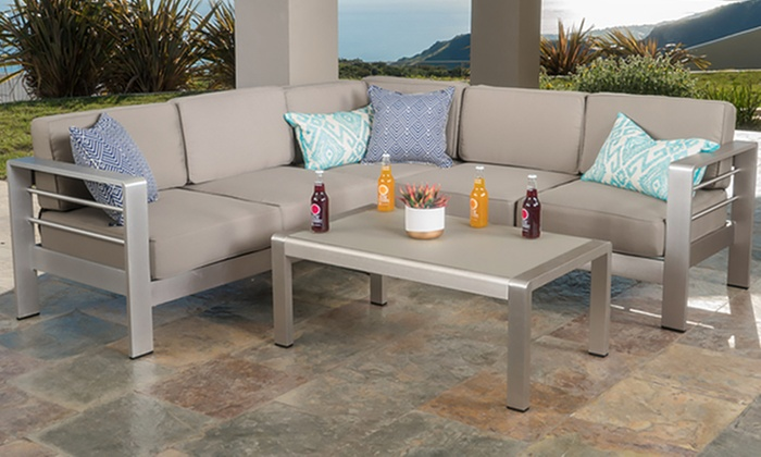 Superieur Aria Outdoor Aluminum 4 Piece Sofa Set ...