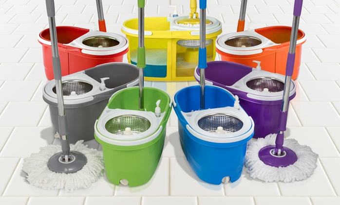 Dual Spin Mop with Clean and Dirty Water Bucket and Two Heads, Spinner and Pedal from €34.99 With Free Delivery