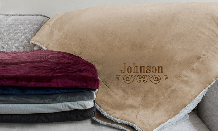 Custom Sherpa Throw Blankets GiftsForYouNow Groupon Impressive Custom Embroidered Throw Blankets