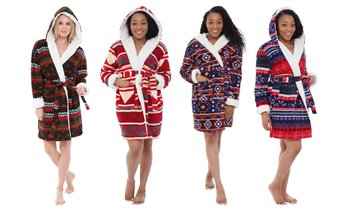 Alexander Del Rossa Women's Sherpa-Fleece Robe. Plus Sizes Available.