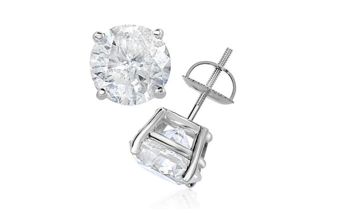 Clearance 4 00 Cttw Certified Diamond Stud Earrings In 14k White Gold