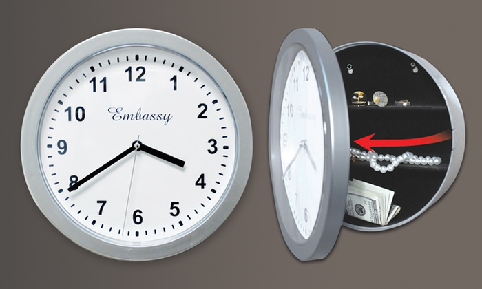 Silver Wall Clock with Hidden Safe: Silver Wall Clock with Hidden Safe. Free Returns.