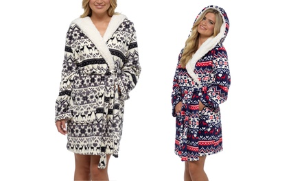 Women's Hooded Fleecy Fair Isle Robe for £13.99