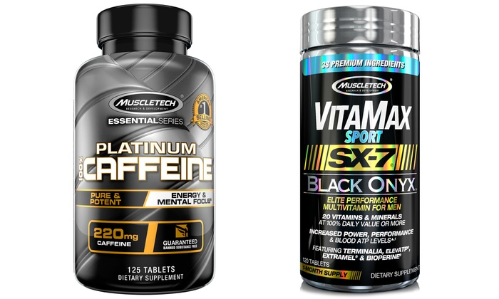 Vitamax and Muscletech Caffeine Pills Workout Supplements for Men (120- and  125-Count