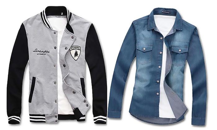Denim Shirt Or Bomber Jacket Groupon Goods