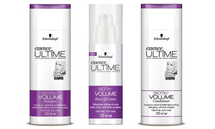 $19.95 for a NinePiece Set of Schwarzkopf Essence Ultime Biotin Lotion, Shampoo, and Conditioner Don't pay $116.55