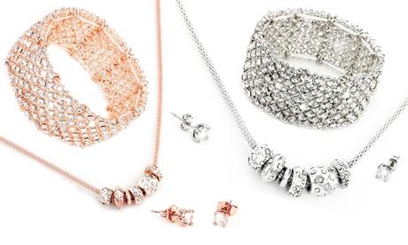 Set de 3 joyas adornadas con cristales de Swarovski®