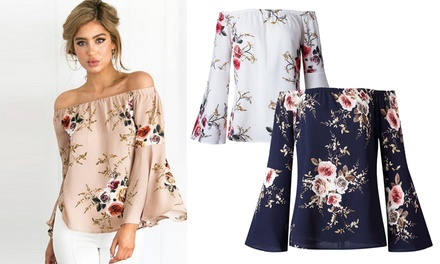 Women's OffShoulder Flare Sleeve Floral Blouse: One $15 or Two $25