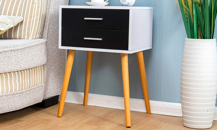 Two-Drawer Bedside Table Nightstand Cabinet