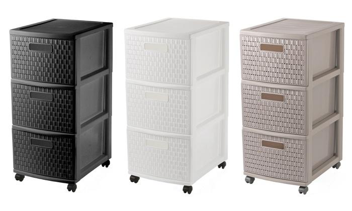 tour de rangement 3 tiroirs groupon. Black Bedroom Furniture Sets. Home Design Ideas