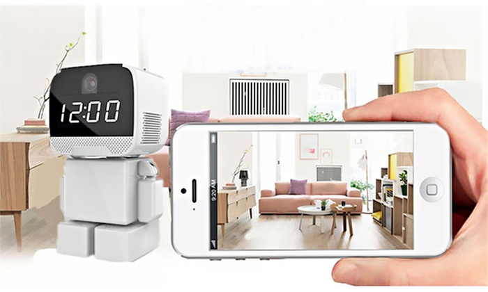Groupon Direct - 458958: One (AED 249), Two (AED 489) or Three (AED 699) Rotating Wi-Fi Robot IP Clock Cameras