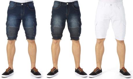X-Ray Jeans Men's Slim-Fit Moto Stretch Denim Shorts