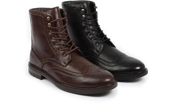 Braveman Men's Wingtip Brogue Combat Boots