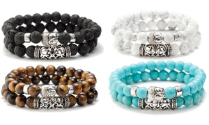 Double bracelet perles pour homme