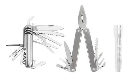 iMounTEK Three-Piece Tool Set (13-in-1 Multi-Tool, 15-in-1 Pocket Knife, and Flashlight)