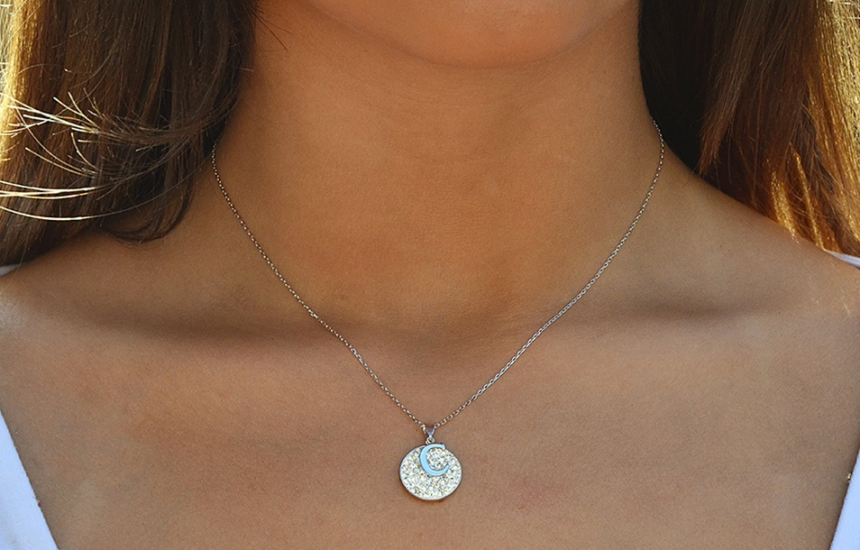 Sterling Silver Disc Initial Necklaces with Swarovski Elements