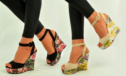 Sandales Compensées Motif Et Floral À AlizéeColoris Talons kPiXuZ