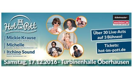 """2 Tickets für """"Hot im Pott"""" – Indoor-Party-Festival am 17.12.2016 in der Turbinenhalle in Oberhausen (50% sparen)"""