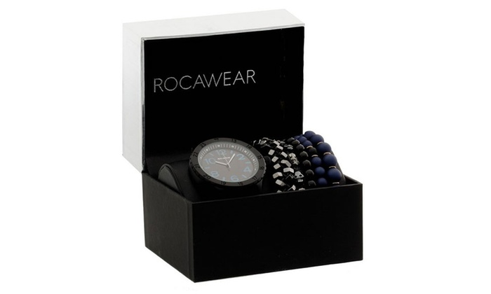 Rocawear Mens Fashion Leather Watch With Free Beaded Bracelet Set