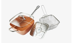 "Square Copper Cooking Pan 9.5"" (4-Piece)"