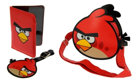 Two Angry Birds Passport Holder and Luggage Tag Gift Sets with Pilot Bag