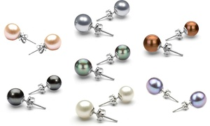 18K White Gold Plated Pearl Earrings Set by Valencia Gems (7 Pairs)