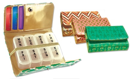 Metallic Series Pill and Vitamin Case in Protective Clutch