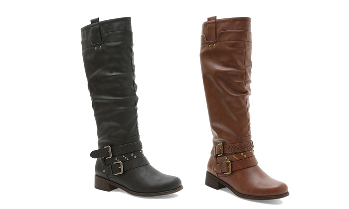 XOXO Women's Knee-High Boots with Wide Calf Option | Groupon